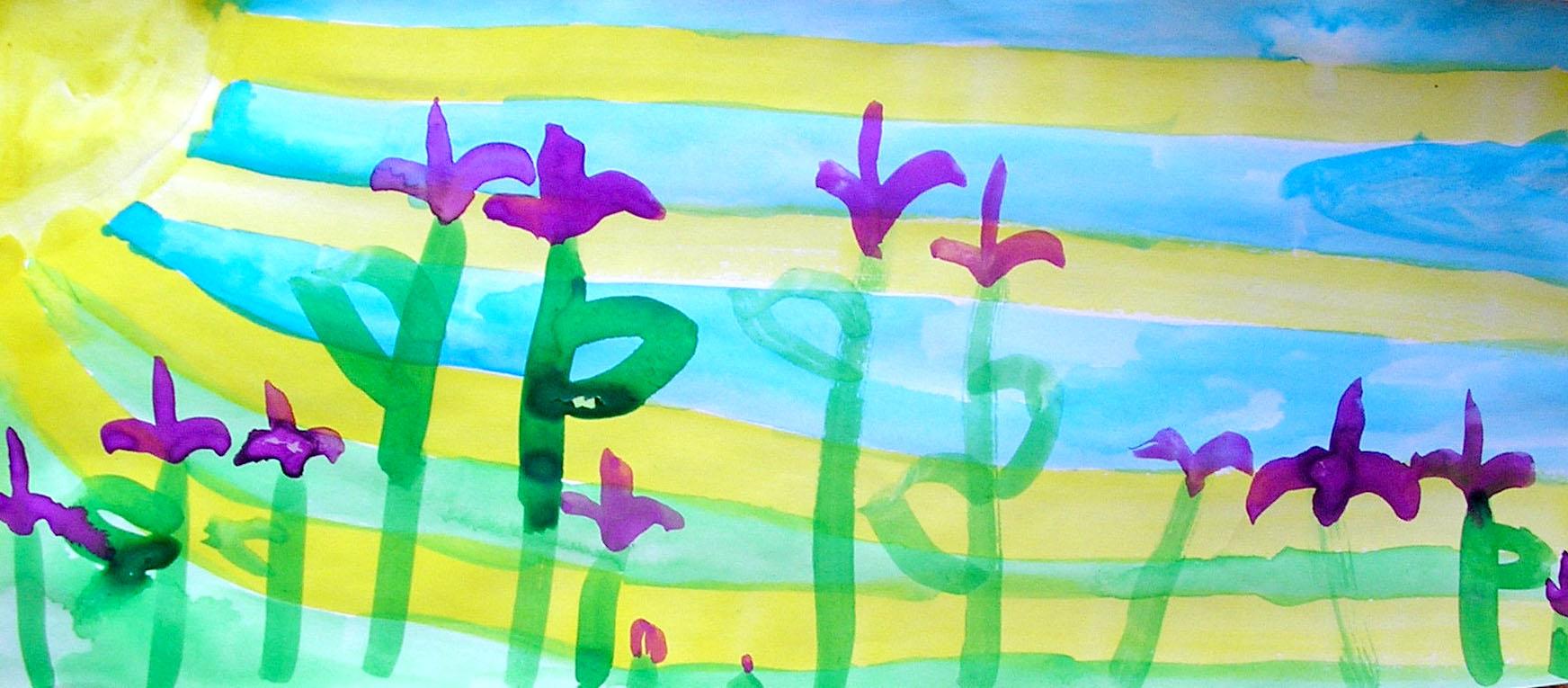 Stefania, age 5. Watercolors.