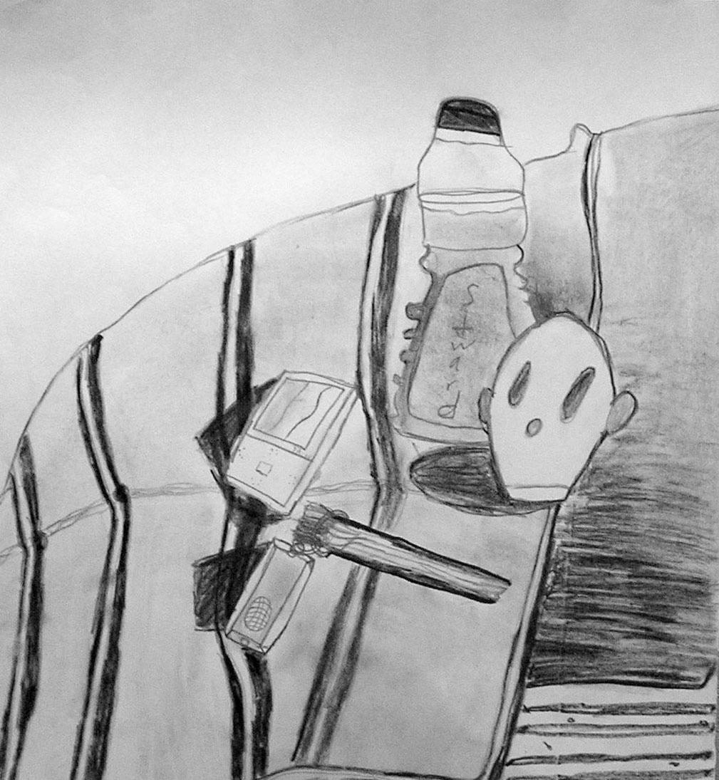 Anton, age 10. Charcoal, marker, graphite
