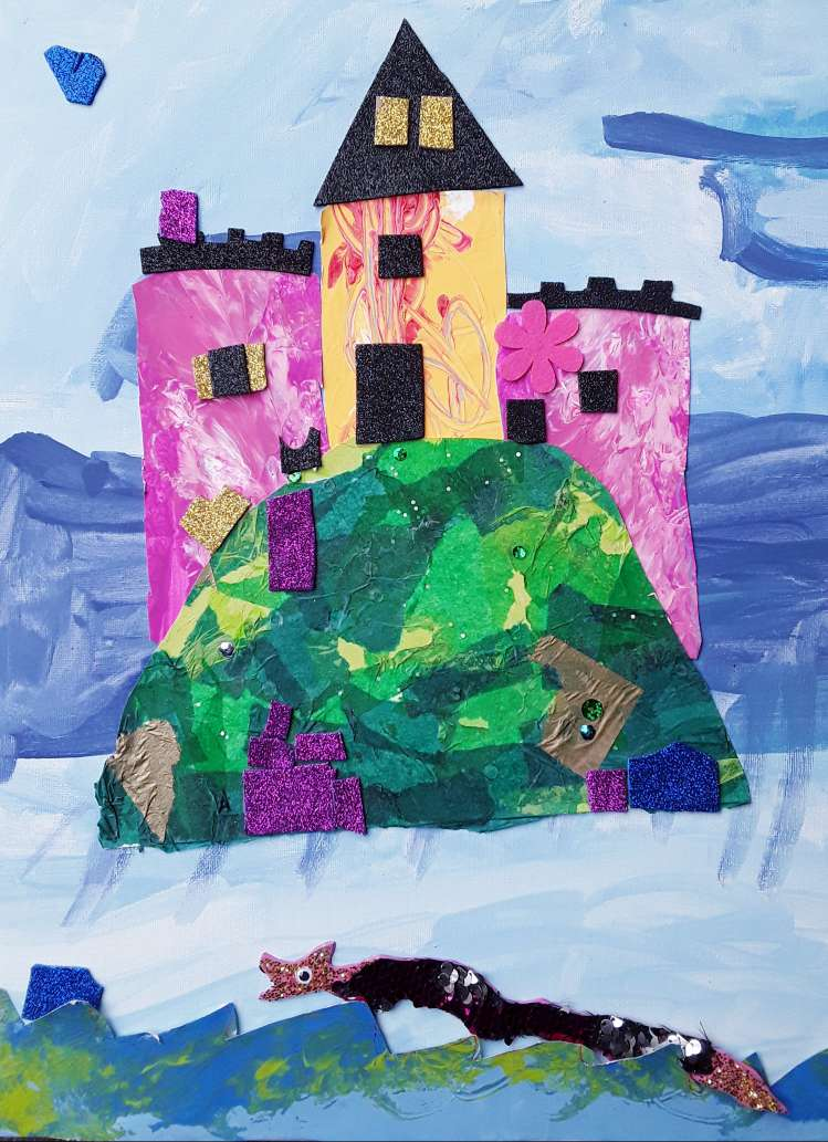 Class of 5-7 years old, Summer camp. Place des Arts art center.  Acrylic painting, paper cutting, collage.
