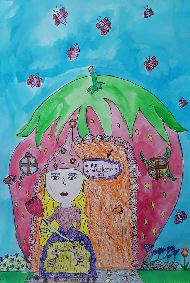 Class of 8-12 years old, Place des Arts art center. Watercolours, outliner, crayons.