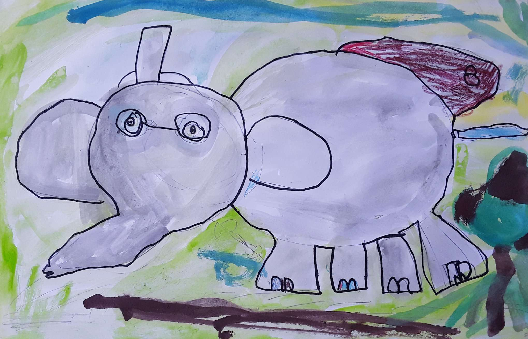Class of 3-5 years old, Place des Arts art center. Watercolours, outliner, crayons.
